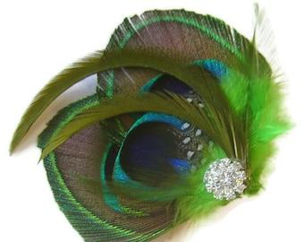 Peacock Hair Fascinator IRISH LOVE Perfect for a Fall Bride or Bridesmaids Emerald and Peridot