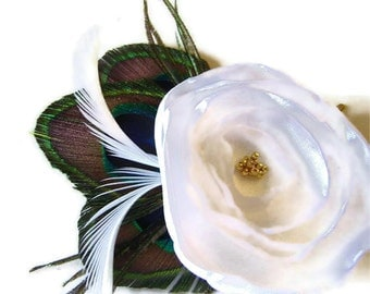 JENNIFER in Bridal White Peacock and Flower Hair Fascinator Clip Wedding Perfect for Bridal Party