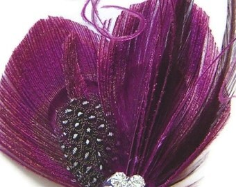Peacock Hair Clip MAGENTA MAGIC Purple Peacock and Rhinestone Wedding Hair Fascinator Clip