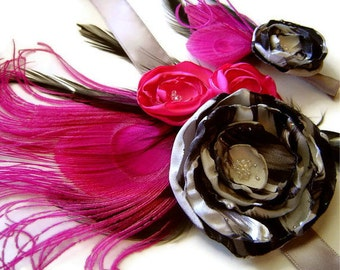 Peacock Corsage & Boutonniere Bridal Party Set STUDY in PINK and BLACK Silver Zebra Satin Flower Set
