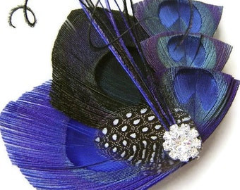 Peacock Hair Fascinator BLACK & BLUE Perfect for a Fall or Winter Bride or Bridesmaids with Rhinestone