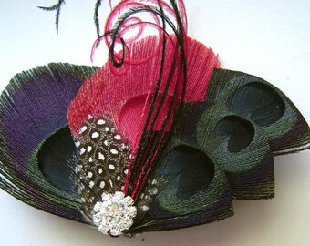 Peacock Hair Fascinator BLACK & RED Perfect for a Fall or Winter Bride or Bridesmaids with Rhinestone