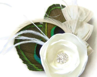 Peacock Hair Fascinator IVORY ROSE Perfect for a Fall or Winter Bride or Bridesmaids with Rhinestone and Ivory Fabric Rose