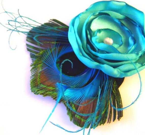 JENNIFER Peacock and Flower Hair Fascinator Clip with Pearl in Teal Blue Wedding Bridal Party