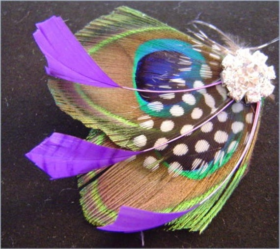 KISS OF PLUM Natural Peacock and Rhinestone Wedding Hair Fascinator Clip