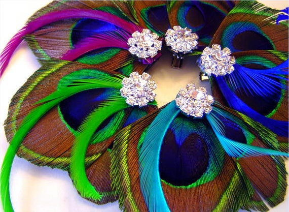 Peacock Hair Clip KISS of COLOR Feather Rhinestone Wedding Hair Fascinator Clip Choose  Accent Color