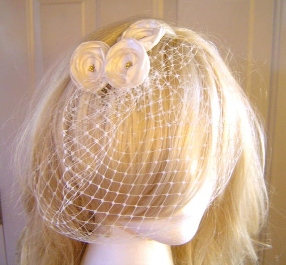 """Bridal 9"""" Birdcage Veil French Russian Netting Wedding Available in Ivory, Crisp White, Gray, Purple, Gold, or Silver"""
