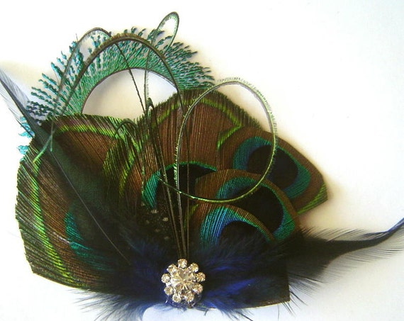 Peacock Feather Hair Clip WOODLAND BLUE Feather with Peacock Sword Rhinestone Hair Fascinator Clip  Ready to Ship