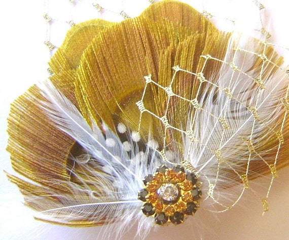 SWEET as HONEY Yellow Peacock Feather Bridal Hair Fascinator Clip with Vintage Jewel OOAK and Gold French Netting