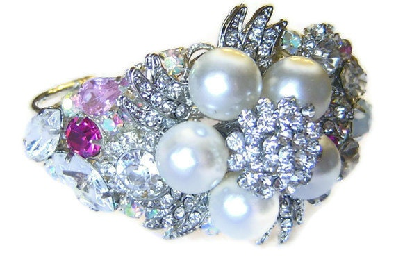 BRIDAL Rhinestone Bracelet OOAK Statement Piece Heirloom Pink Pearl and White Rhinestone Collage Cuff Bracelet