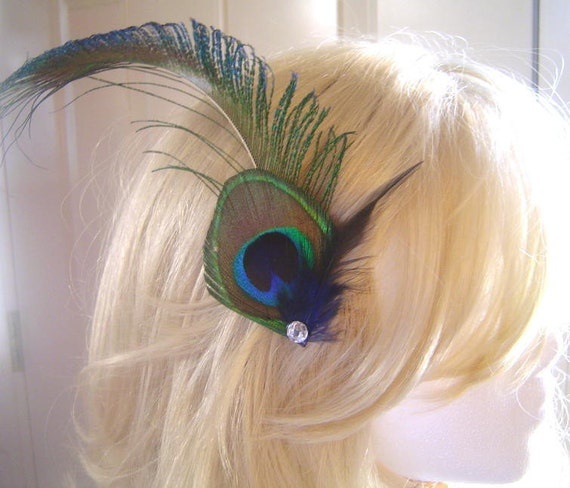 STEAMPUNK Peacock Sword and Feather Clip Rhinestone Elegant Bridal  Wedding Fascinator Clip Bridesmaid Maid of Honor