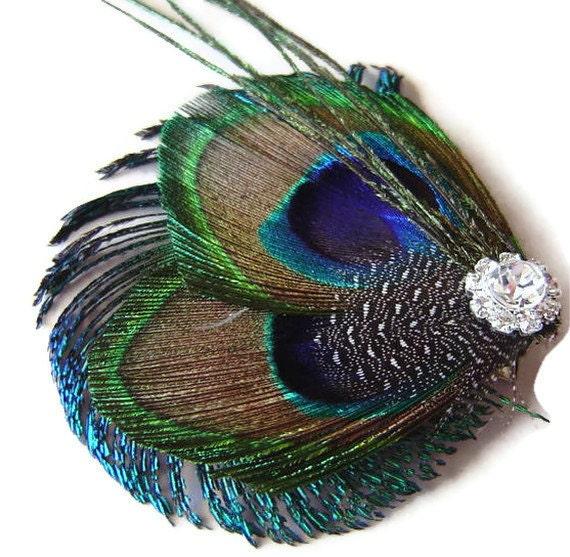 Peacock Hair Clip Sophia Peacock and Sword and Rhinestone Wedding Hair Fascinator Clip