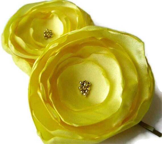 Sunny Yellow Satin Peony Poppy Pins Bobby pin set Bridal Party