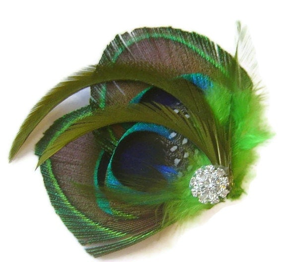 Peacock Hair Fascinator IRISH LOVE Perfect for a Fall Bride or Bridesmaids Emerald and Peridot
