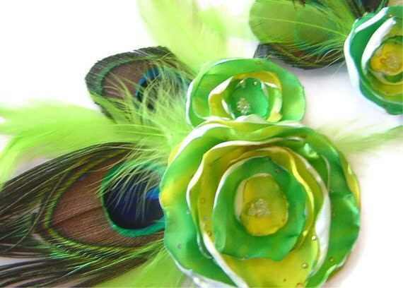 Peacock Corsage & Boutonniere Bridal Party Set Lime Swirl Satin Flower Set