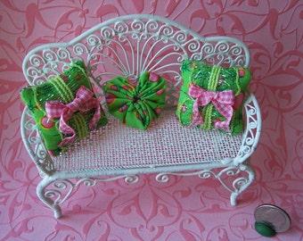 OoAK Dollhouse Miniature Pink & Green Pillows set