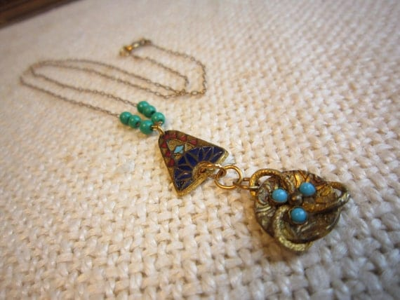 Victorian Egyptian Enameld Necklace