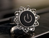 Geeky Ring Mac Power Button (Black) - Great Nerd Gift.