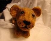 Needle felted wool animal, adorable lion cub