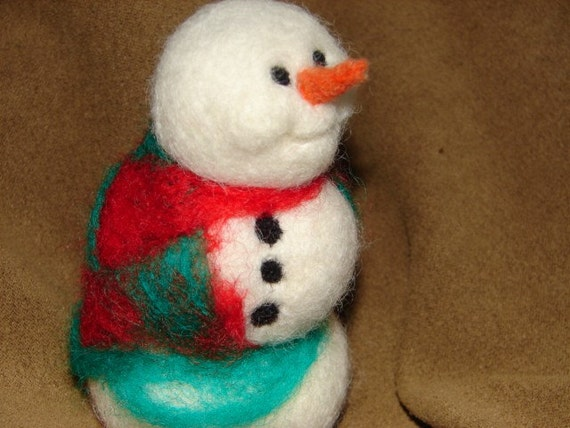 Snowman needle felted wool in colorful shawl