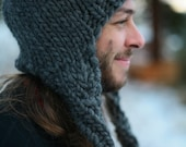 Mens Thick Knit Wool Beanie with Earflaps in Charcoal Gray