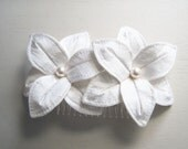 SALE White Wedding Hair Flowers - Double Lilies in White Silk with Pearl Centers - Ready To Ship