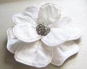 White Bridal Hair Flower - Large Silk Dupioni Magnolia Comb - Made To Order