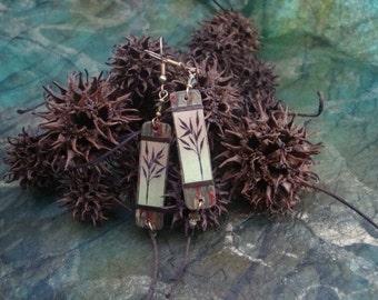 bamboo and handmade paper earrings
