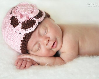 14.00 THIS WEEK ONLY!!-- Newborn BabyHat in Pink and Brown---An Original From Yvonne's Baby Boutique