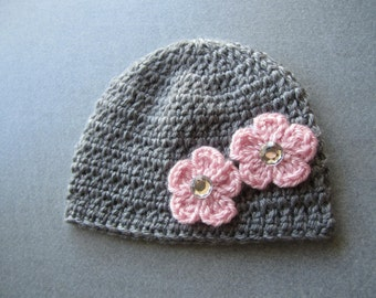 10.00!!--Newborn Beanie in Gray with Pink Cherry Blossom Flowers Attached---10.00 SALE