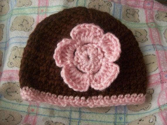 10 Dollar Sale--Newborn Baby Hat/Beanie in Brown with Pink Flower