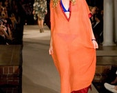 RESERVED-Blood Orange Semi-Sheer Kaftan, Red Cotton Sateen trim with Deep Aqua Glass Bead Embellishments