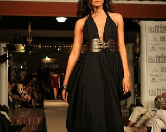 Signature Couture Halter in Black Crepe (or Teal)