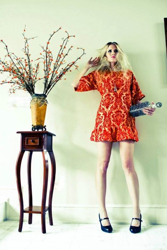 RESERVED for annie, Orange and Red Damask Shift Dress, Hand dyed, Ruffle Hem,