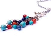 Long Boho multi gemstone tassel necklace - turquoise, carnelian, lapis lazuli, swarovski crystals, unique ooak, cluster necklace