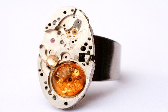 baltic amber steampunk ring, unique ooak, statement ring, industrial steam punk