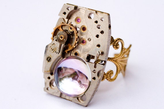 Vintage Watch Movement Steam Punk Filigree Ring with Vintage Swarovski, unique and one of a kind