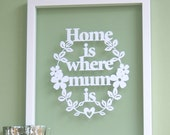 Gift for Mum Mom - Home is where MUM/MOM Is - Papercut, Mothers Day gift, mums birthday, moms birthday gift, mum quote