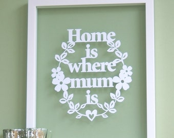 Gift for Mum - Home is where Mum Is - Papercut, Mothers Day gift, mums birthday, mum gift, first mothers day, gifts for mum, mum birthday