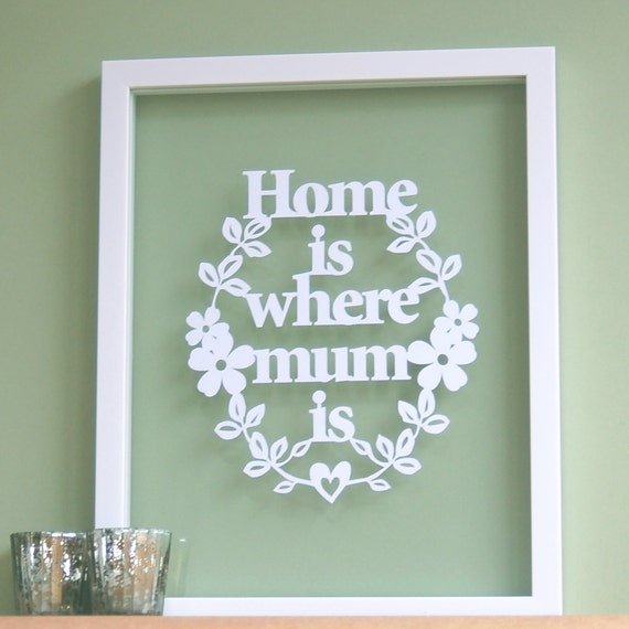 Gift for Mum Mom - Home is where MUM/MOM Is - Papercut, Mothers Day gift, mums birthday, moms birthday gift, mum quote