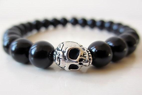 Skull Beaded Bracelet, Mens Skull Bracelet, Womens Skull Bracelet, Black Beaded Bracelet, Gothic Beaded Bracelet, Silver Skull, Obsidian