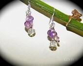 Fairy Girl earrings-- small dangling amethyst, crystal and sterling silver earrings