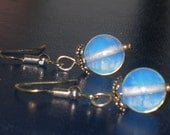 Dangling Moonflowers - fascinating earrings in opal and sterling silver - free shipping