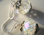 Sparkling Aurora Borealis Crystal and Sterling Silver earrings  -- free US shipping
