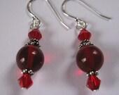 Deep Red 925 Sterling Silver and Garnet earrings - Goth, sexy earrings