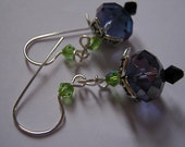 BLACK ROSE BUDS earrings-925 silver and black crystal  - New Design HALF OFF