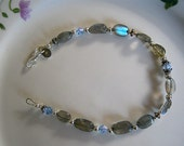 blue fire Labradorite and 925 sterling silver Bracelet - New Design Promotion