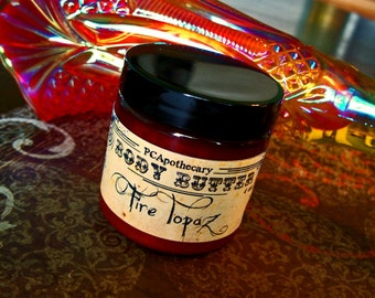 Fire Topaz (body butter, soap whip, sugar scrub,solid perfume--blood orange, frankincense, wood resin)