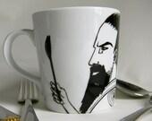 Hand painted Mug - Man with Spork
