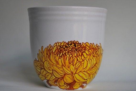 Hand Painted Mug - Chrysanthemum